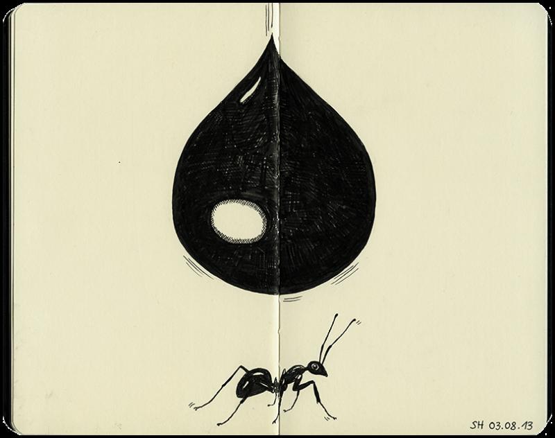Tropfen fällt auf Ameise