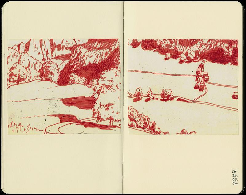 Berglandschaft mit Felssturz