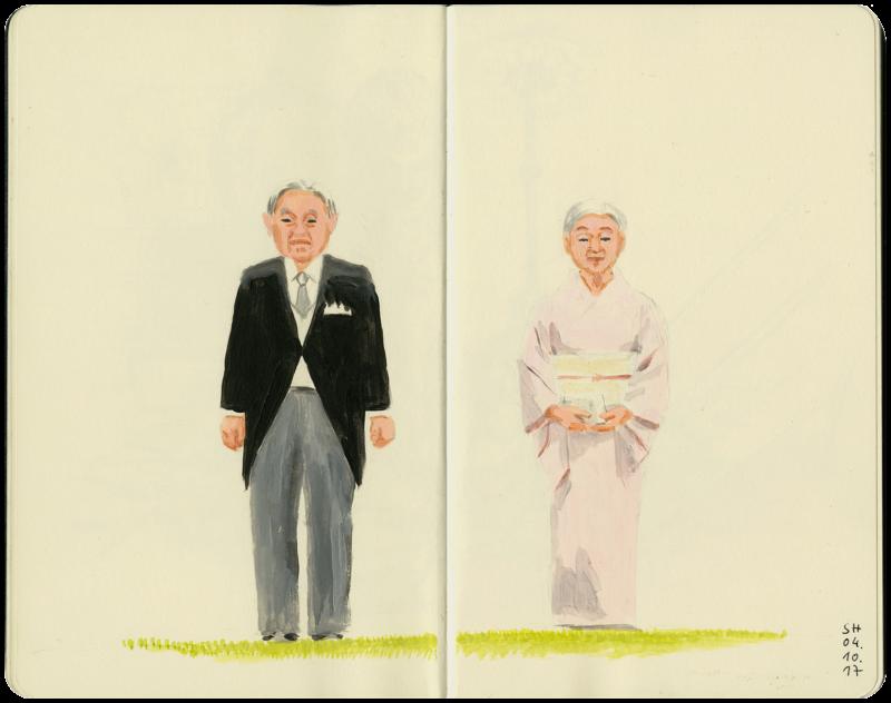 Kaiser Akihito mit Kaiserin Michiko