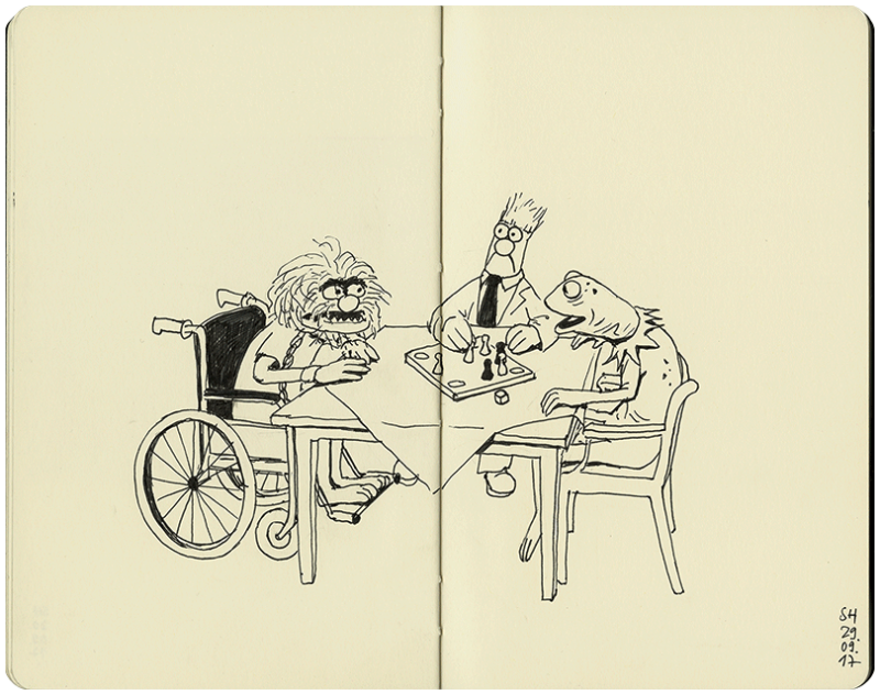 Kermit, Beaker und Animal zusammen am Tisch