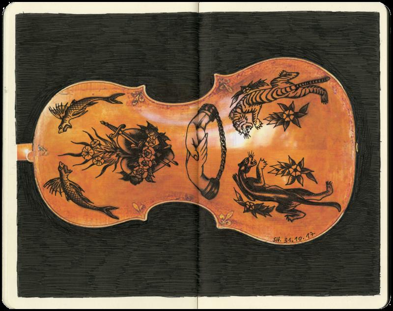 bemalte Rückseite eines Violoncellos