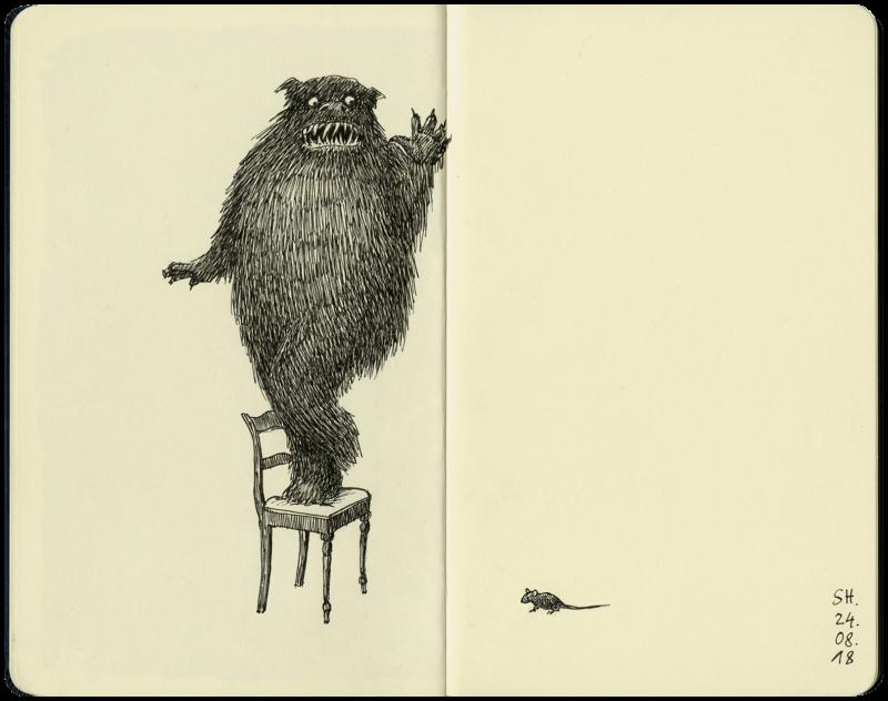 Ungeheuer erschreckt auf dem Stuhl wegen einer Maus