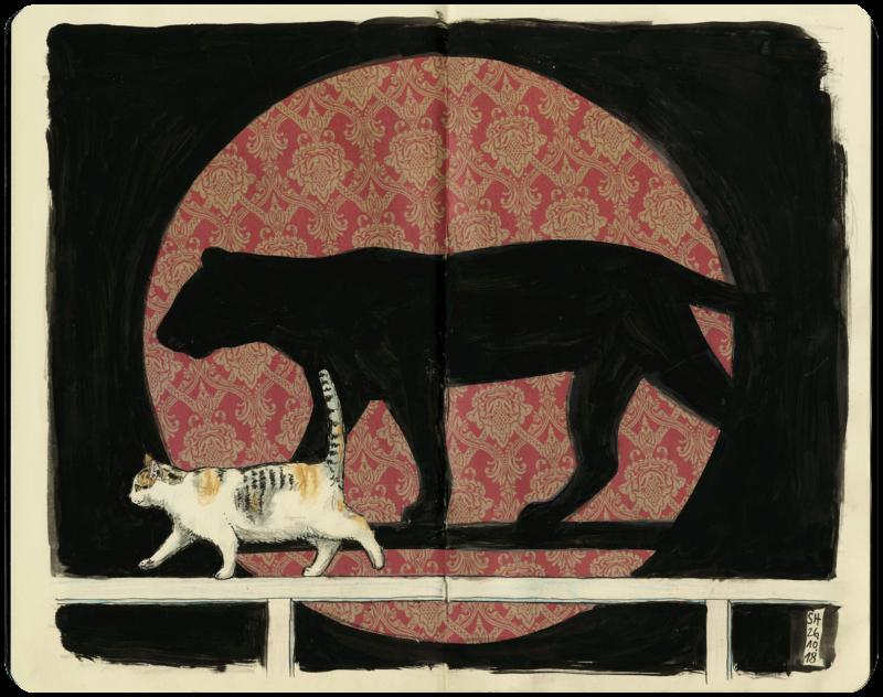 Hauskatze mit Schatten eines Panthers