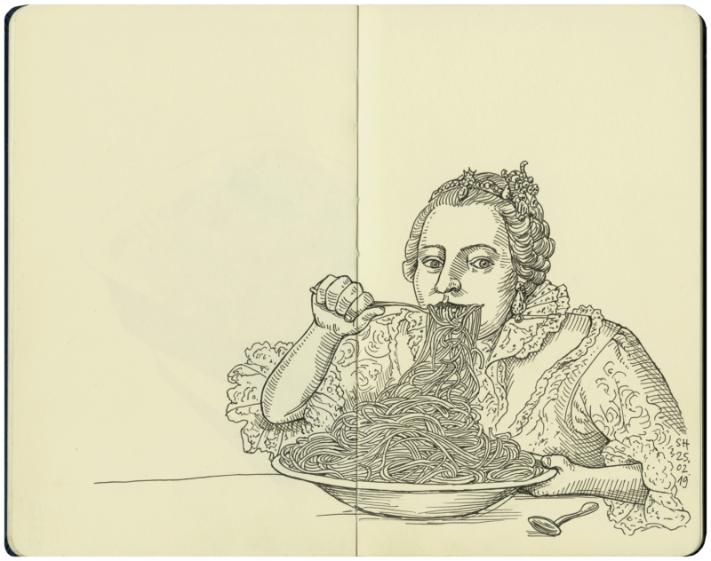 Spaghettiessen im Barock